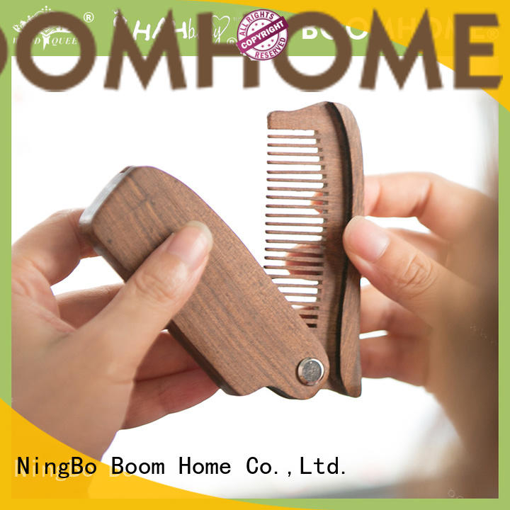 Boom Home beard wooden hair comb design for travel