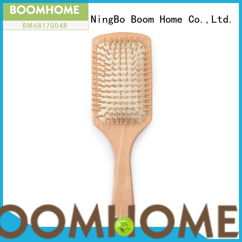 Boom Home oval bamboo bristle hair brush handle for thick hair