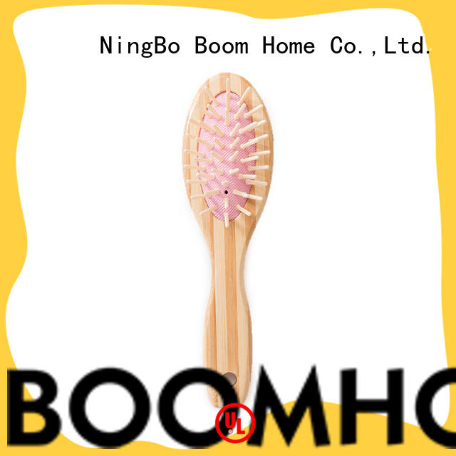 Boom Home pocket bamboo paddle brush personalized for thick hair