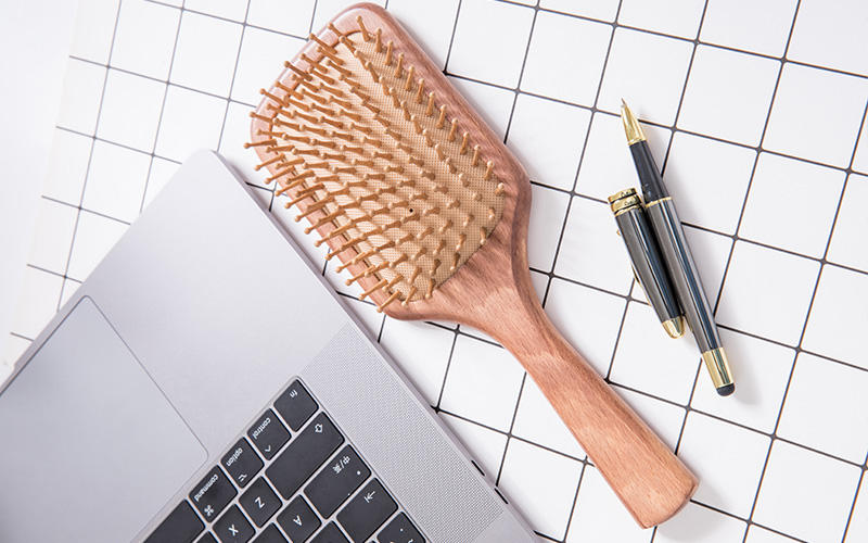 Custom Logo Boar Hair Paddle Brush For Massage-1