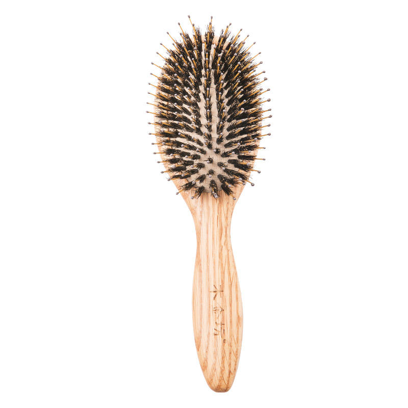 Wooden Boar Bristle Hair Brush With Nylon Pins For Hair Care