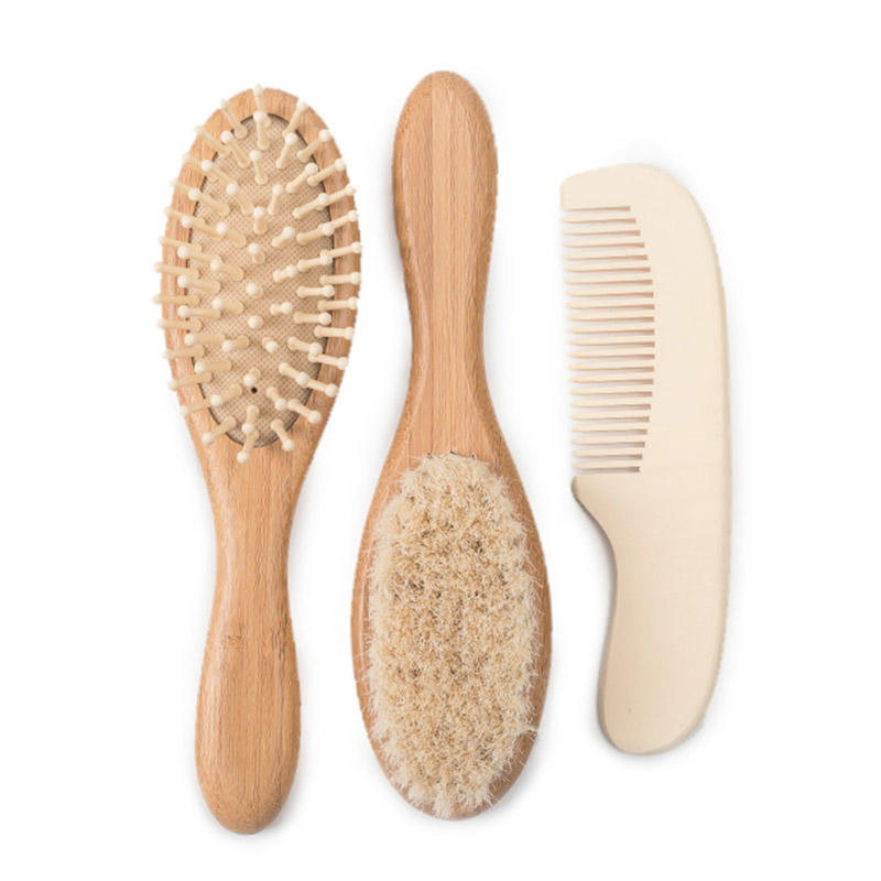 Baby Wooden Hair Brush And Comb Set For Newborns & Toddlers