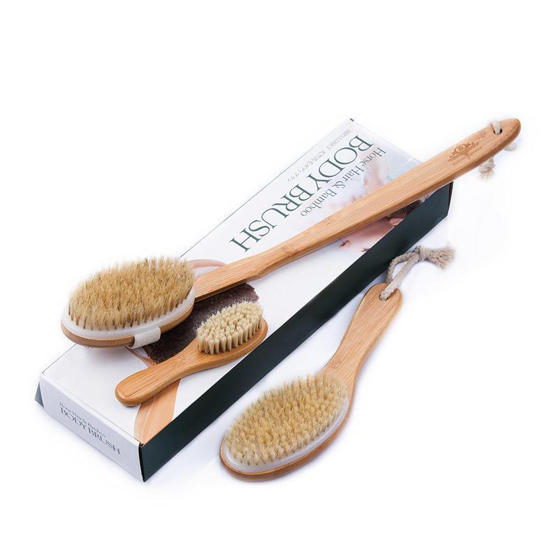 Natural Long Handle Bamboo Body Brush Set