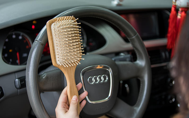 Custom Logo Boar Hair Paddle Brush For Massage