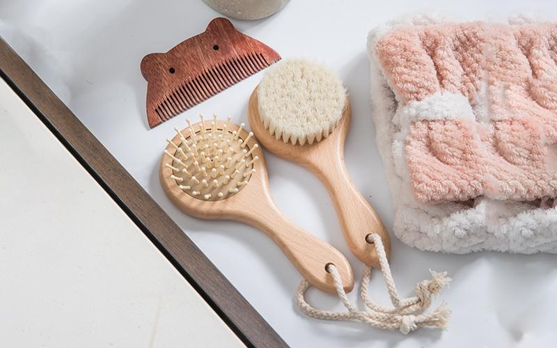 round baby hair brush and comb set boar manufacturer for kids