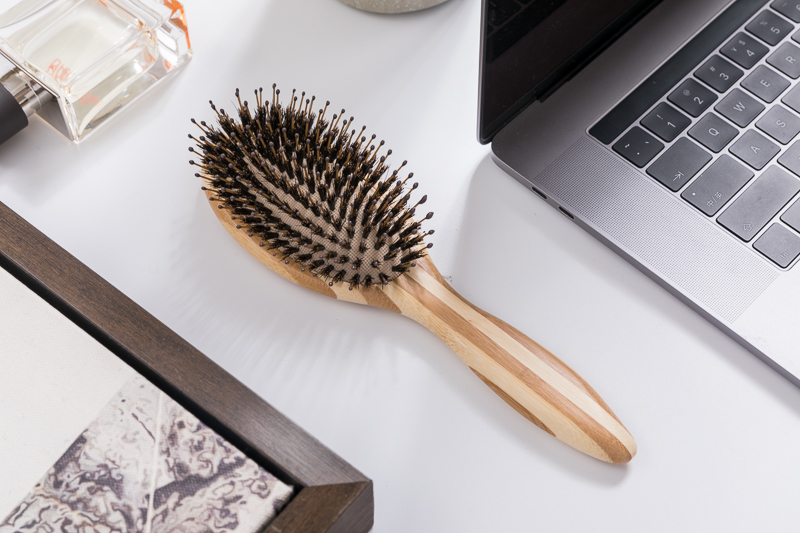 Boom Home best natural bristle paddle hair brush bamboo for men-4