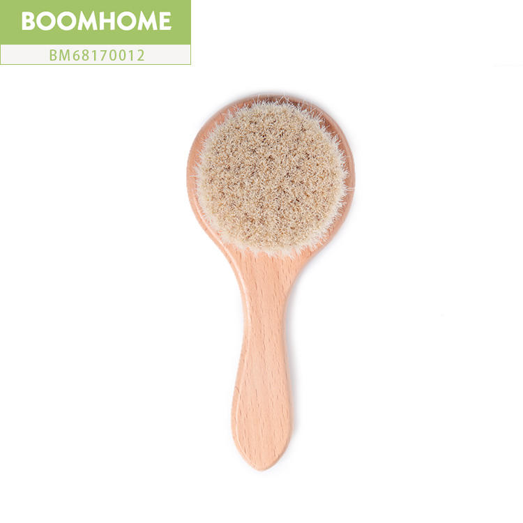 Pure Goat Round Boar Hair Comb And Brush Set For Baby