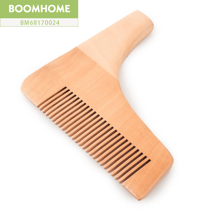 Portable L Shape Static Wooden Beard Comb Horn