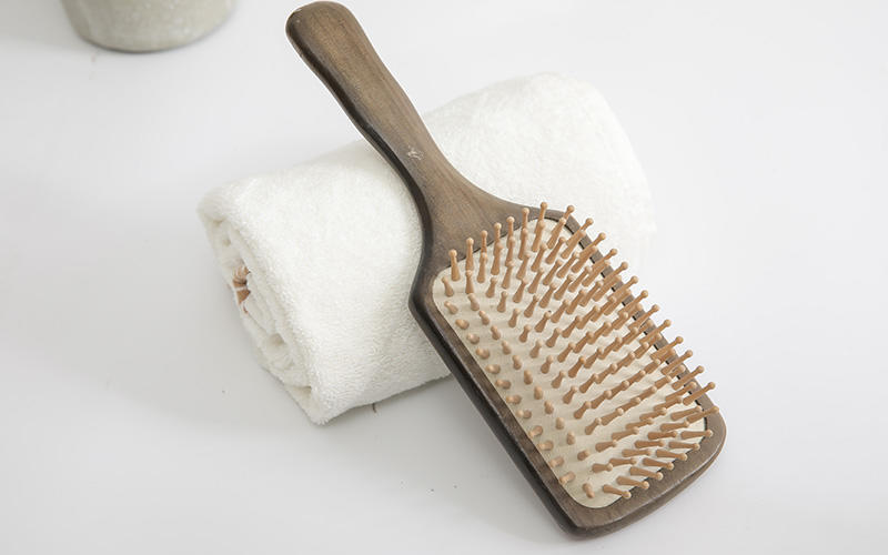 anti-static wooden paddle hair brush nylon inquire now for travel-2