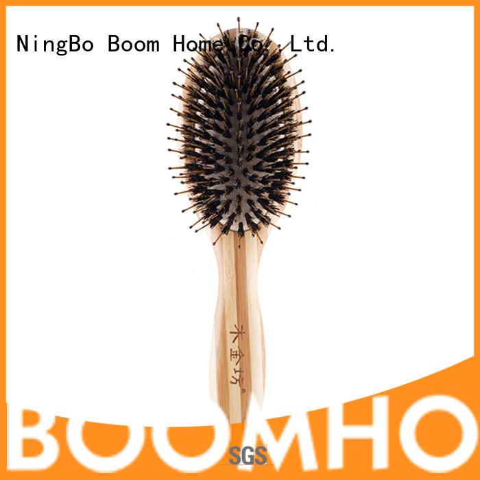 Bamboo Natural Bristle Hair Brush With Nylon Pins