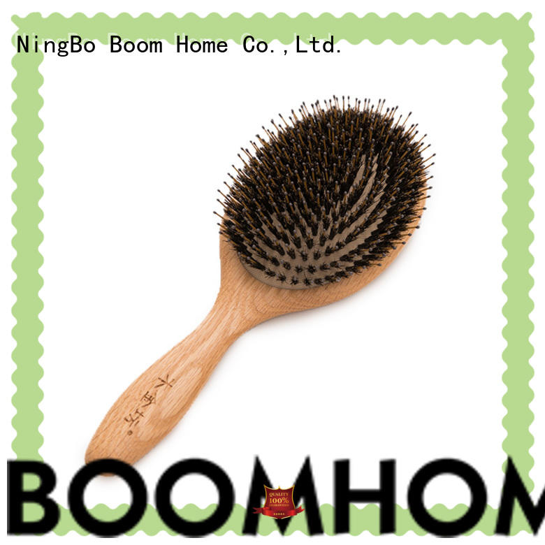 Custom Logo Natural Round Hair Brushes Wooden Handle For Massage
