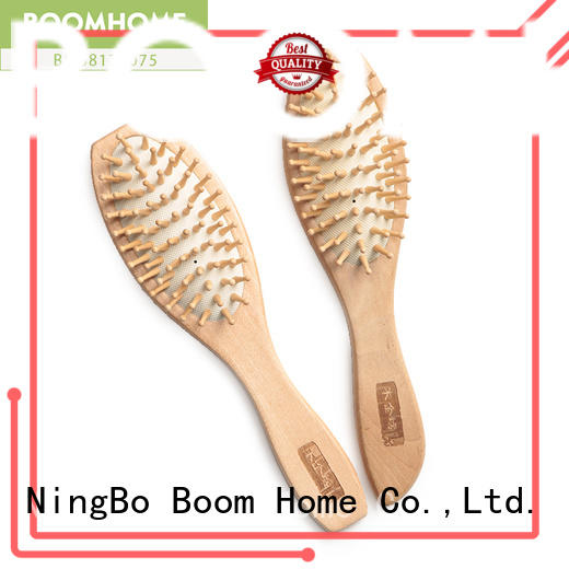 round wooden handle hair brush steel factory for travel