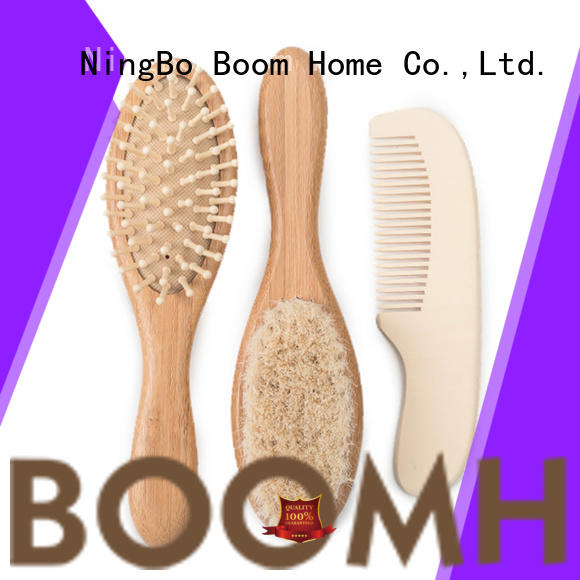 Boom Home round wooden baby hair brush directly sale for household