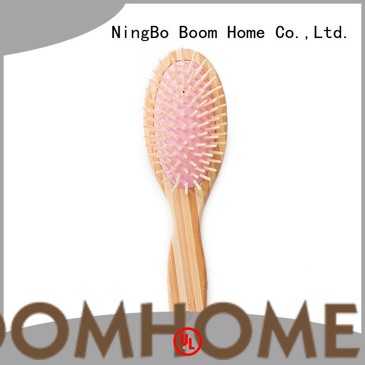 Boom Home smooth bamboo bristle brush personalized for curly hair