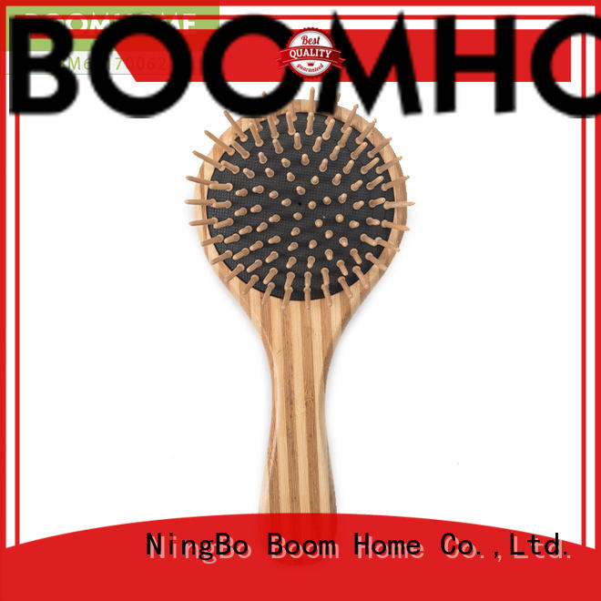 Boom Home oval bamboo bristle hair brush design for thick hair