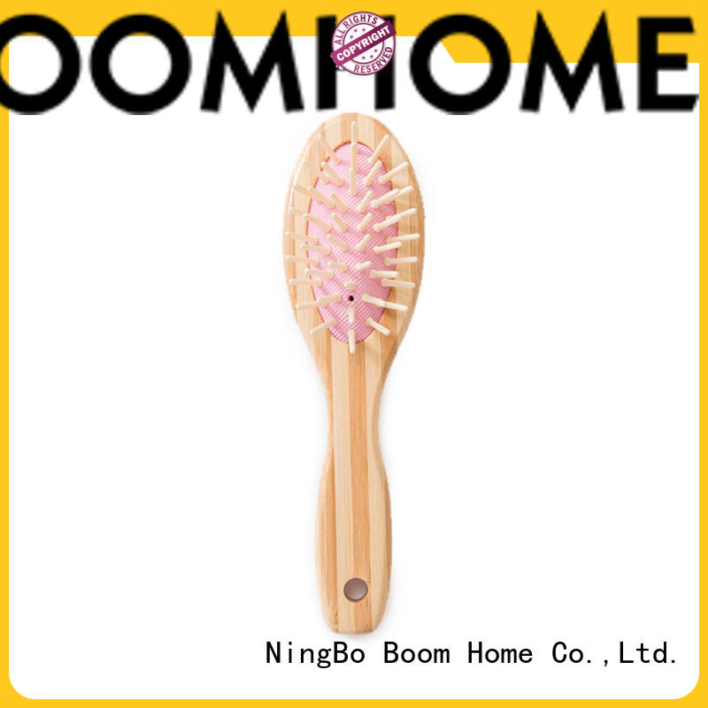 Natural Bamboo Bristle Hair Brush Pink Mini Easy To Carry Gift