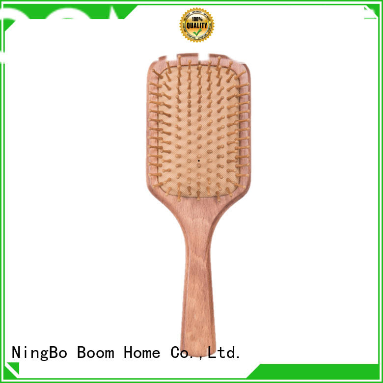 Boom Home durable wooden hair comb logo for travel