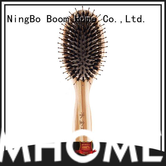 wooden boar bristle hair brush long handle factory for women
