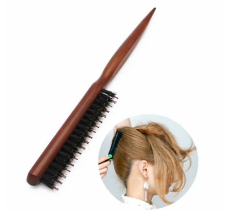 High Quality Wood Handle Natural Boar Bristle Hair Brush Fluffy Comb Hairdressing Barber Hair Styling Tools BM66190003